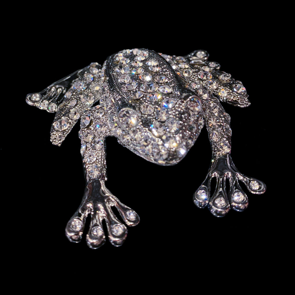 Rivet the Frog Paperweight Collectible Featuring Swarovski © Crystals | Clear