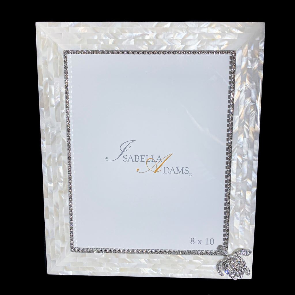 8 x 10 Mother of Pearl Sea Turtle Picture Frame Featuring Swarovski ® Crystal