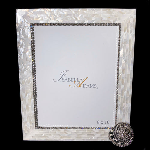 8 x 10 Mother of Pearl Black Pica Picture Frame Featuring Clear Swarovski © Crystals