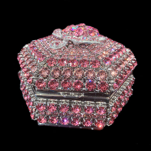 Rose Pink Turtle Hexagon Box Featuring Swarovski © Crystals