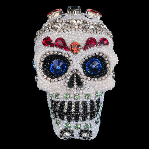 Small Multi-Color Crystallized Sugar Skull Statuette Featuring Swarovski © Crystals