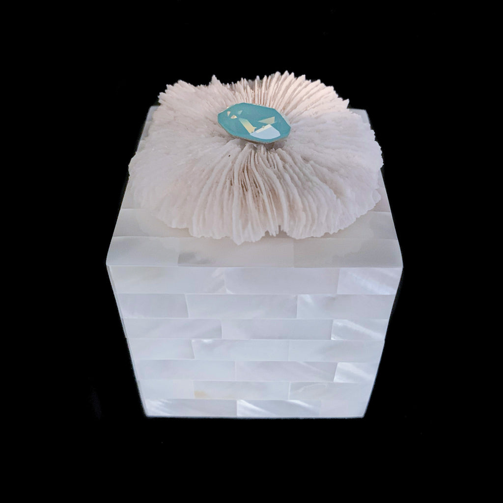 Mother of Pearl Flower Coral  Ring Box Featuring Swarovski © Crystal
