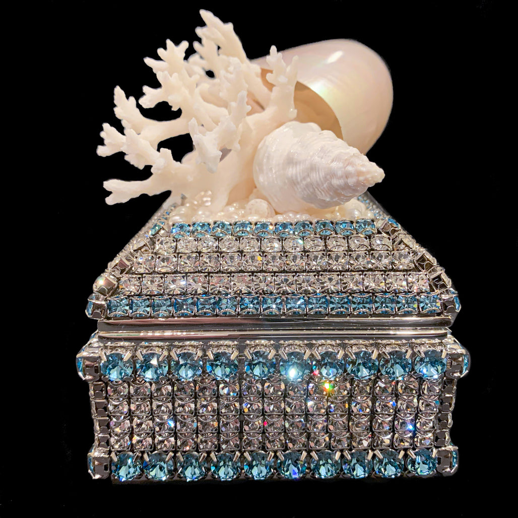 Aquamarine Shell Cluster Keepsake Box Featuring Swarovski © Crystal