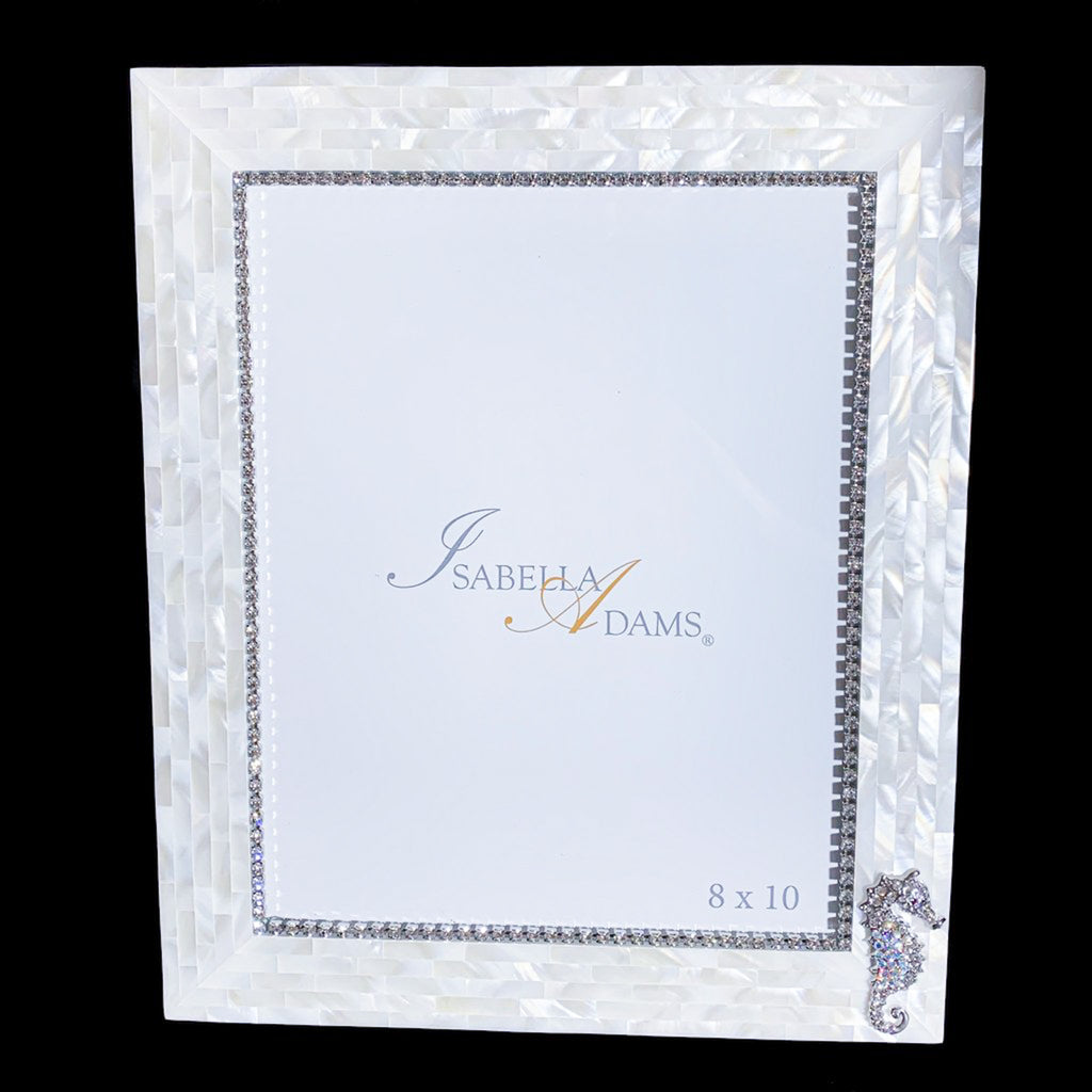 8 x 10 Mother of Pearl Sea Horse Picture Frame Featuring Swarovski © Crystal