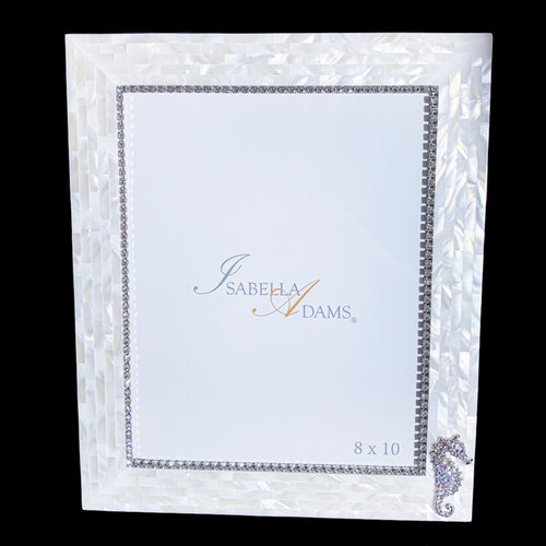 8 x 10 Mother of Pearl Sea Horse Picture Frame Featuring Swarovski ® Crystal