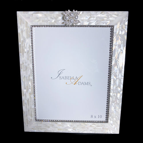 8 x 10 Mother of Pearl Picture Frame Featuring  Swarovski © Crystal & Freshwater Pearls