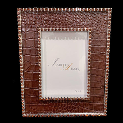 5 x 7 Brown Croco Leather Picture Frame Featuring Swarovski © Crystals