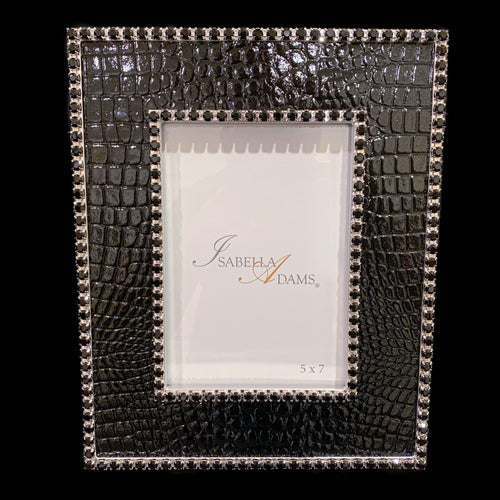 5 x 7 Black Croco Leather Picture Frame Featuring Swarovski © Crystals