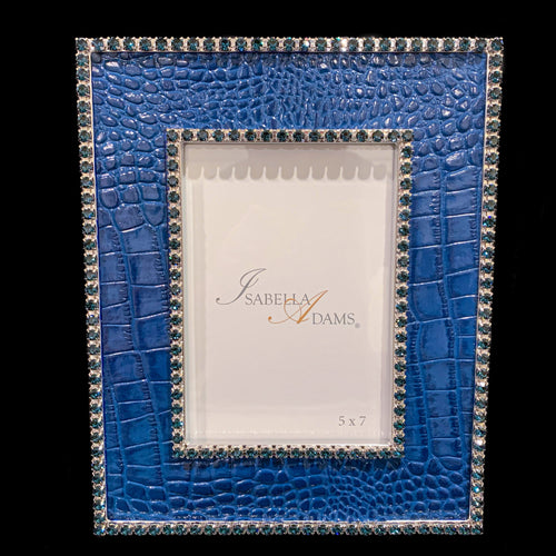 5 x 7 Blue Croco Leather Picture Frame Featuring Swarovski © Crystals
