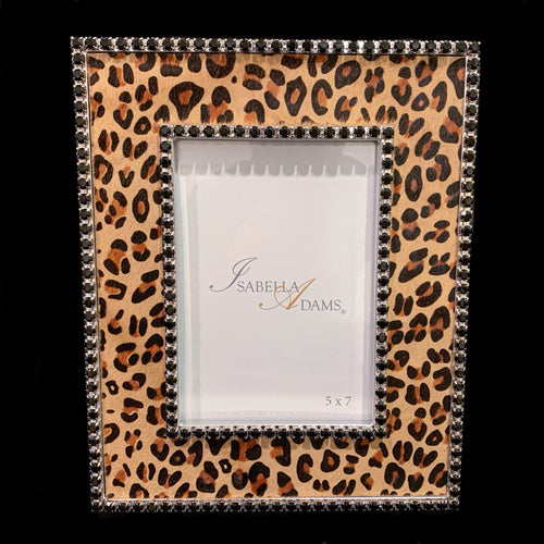 5 x 7 Leopard Leather Picture Frame Featuring Swarovski © Crystals