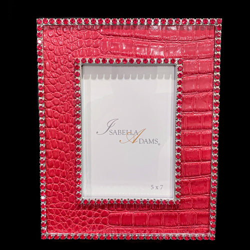5 x 7 Red Croco Leather Picture Frame Featuring Swarovski © Crystals