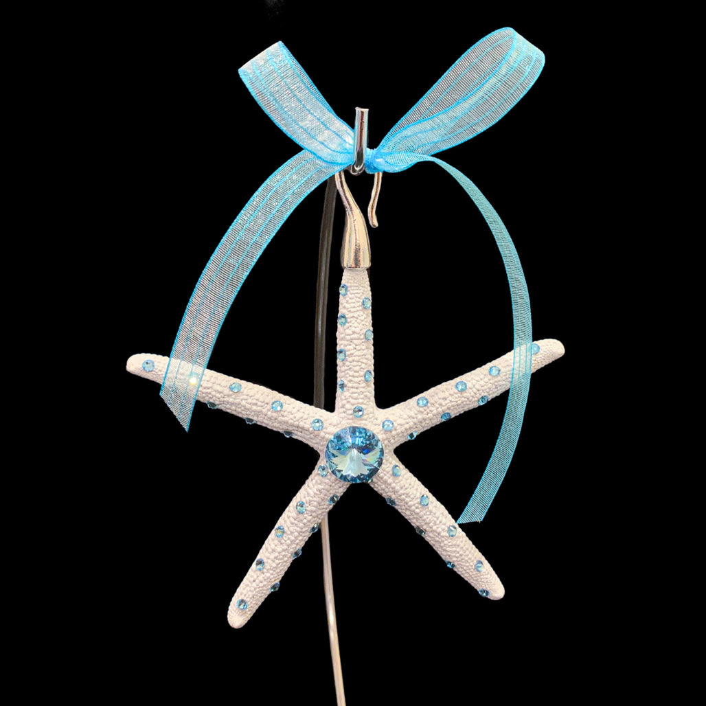 Crystallized Pencil Starfish Christmas Ornament featuring Aquamarine Swarovski © Crystal