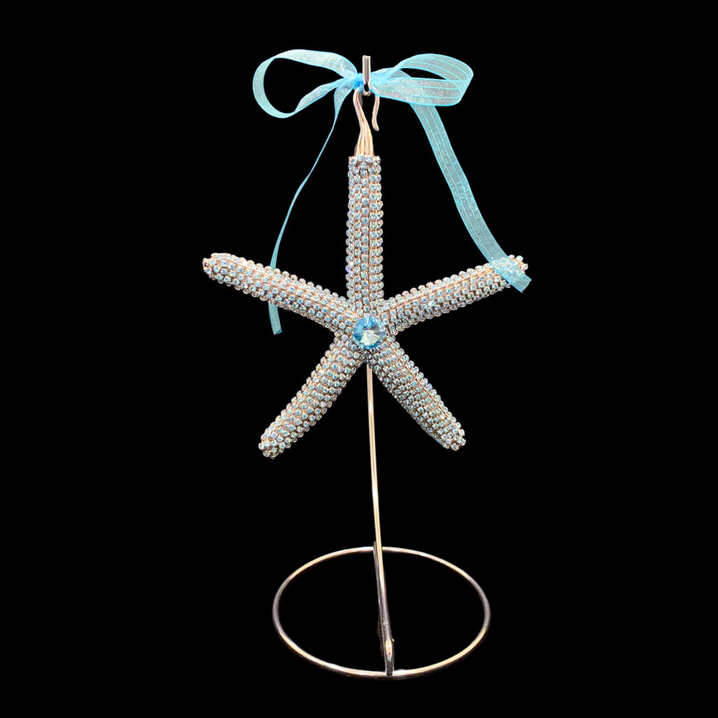 Crystallized Natural Starfish Christmas Ornament featuring Full Aquamarine Swarovski © Crystal