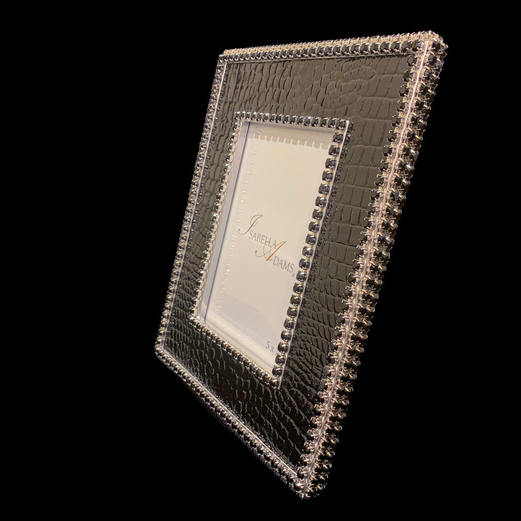 5 x 7 Black Crocodile Picture Frame Featuring Swarovski © Crystal