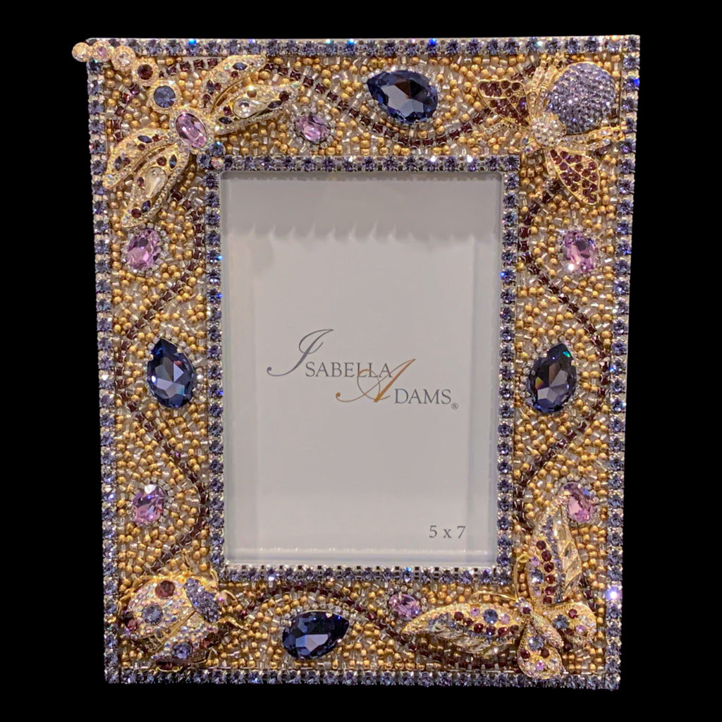 5 x 7 Tanzanite / Gold Crystallized Bug Picture Frame Featuring Swarovski © Crystal