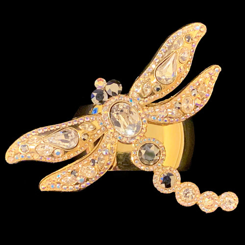 Dragonfly Gold Napkin Rings Featuring Swarovski © Crystal | Set of 4