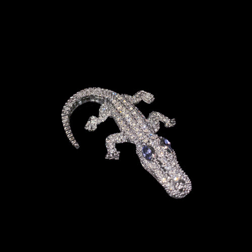 Kid Gator Paperweight Collectible Featuring Swarovski © Crystals | Tanzanite Eyes