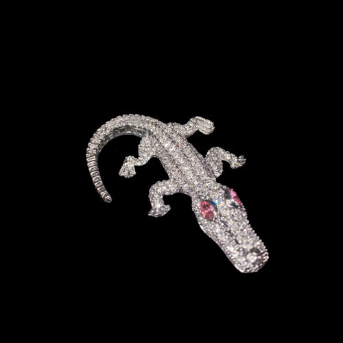 Kid Gator Paperweight Collectible Featuring Swarovski © Crystals | Pink Eyes