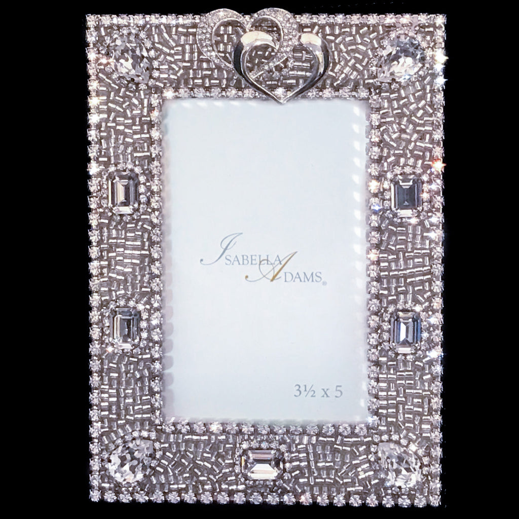 3.5 x 5 Locking Hearts Picture Frame Featuring Swarovski ® Crystal