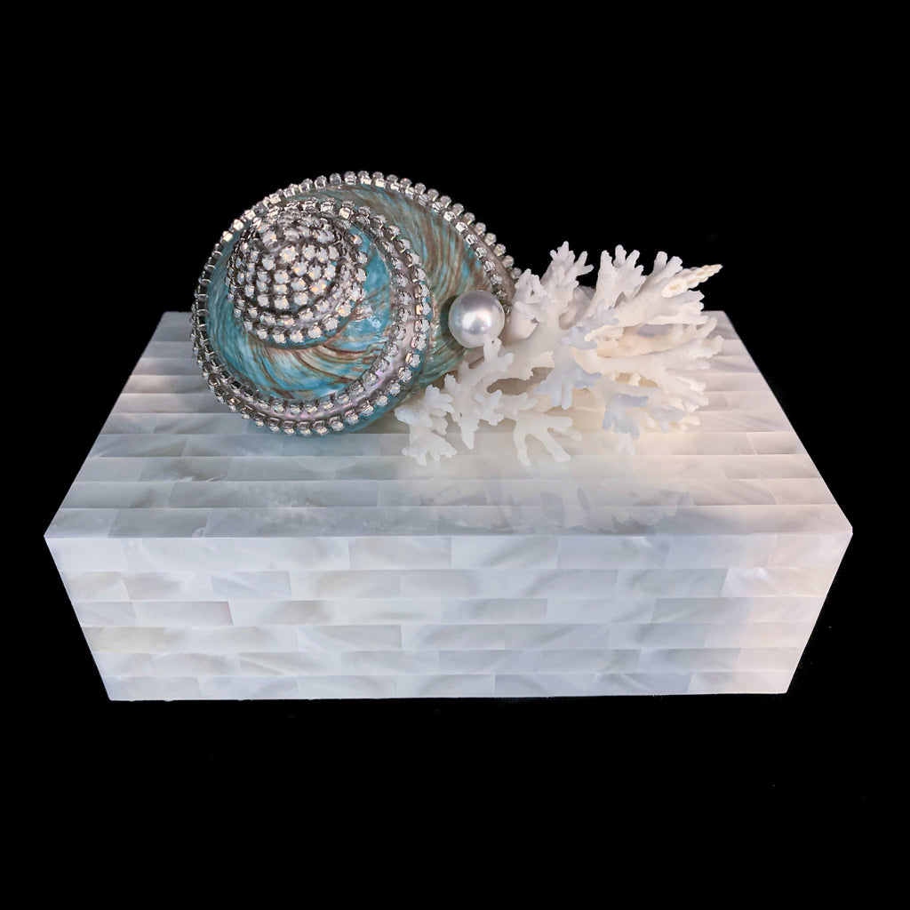 Mother of Pearl Banded Jade Turbo & Coral Jewelry Box Featuring Swarovski © Crystal