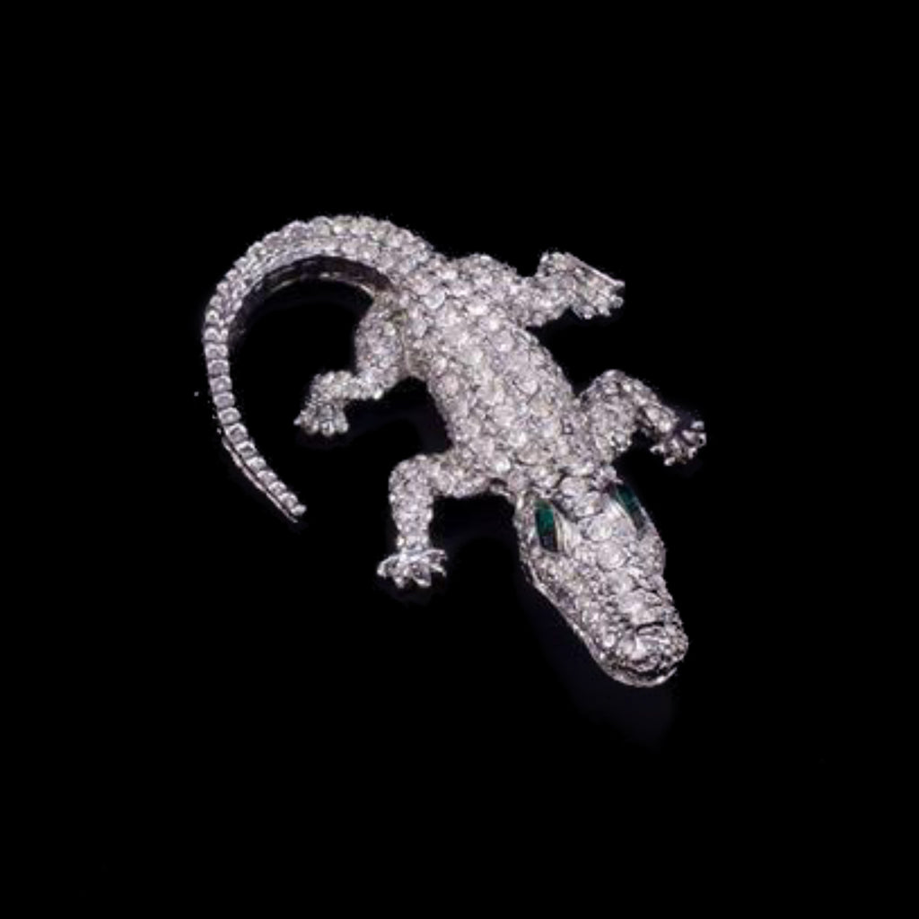 Kid Gator Paperweight Collectible Featuring Swarovski © Crystals | Emerald Eyes