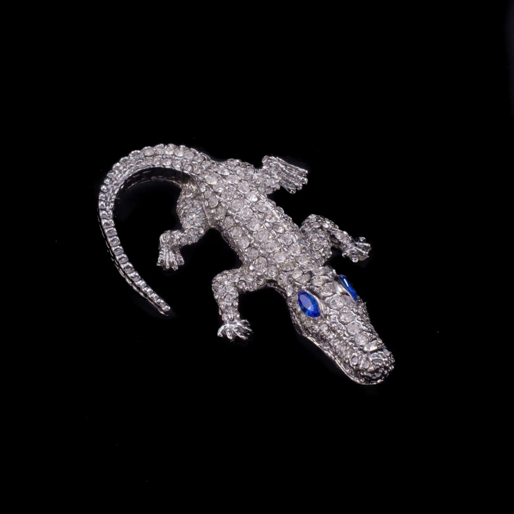 Kid Gator Paperweight Collectible Featuring Swarovski © Crystals | Sapphire Eyes