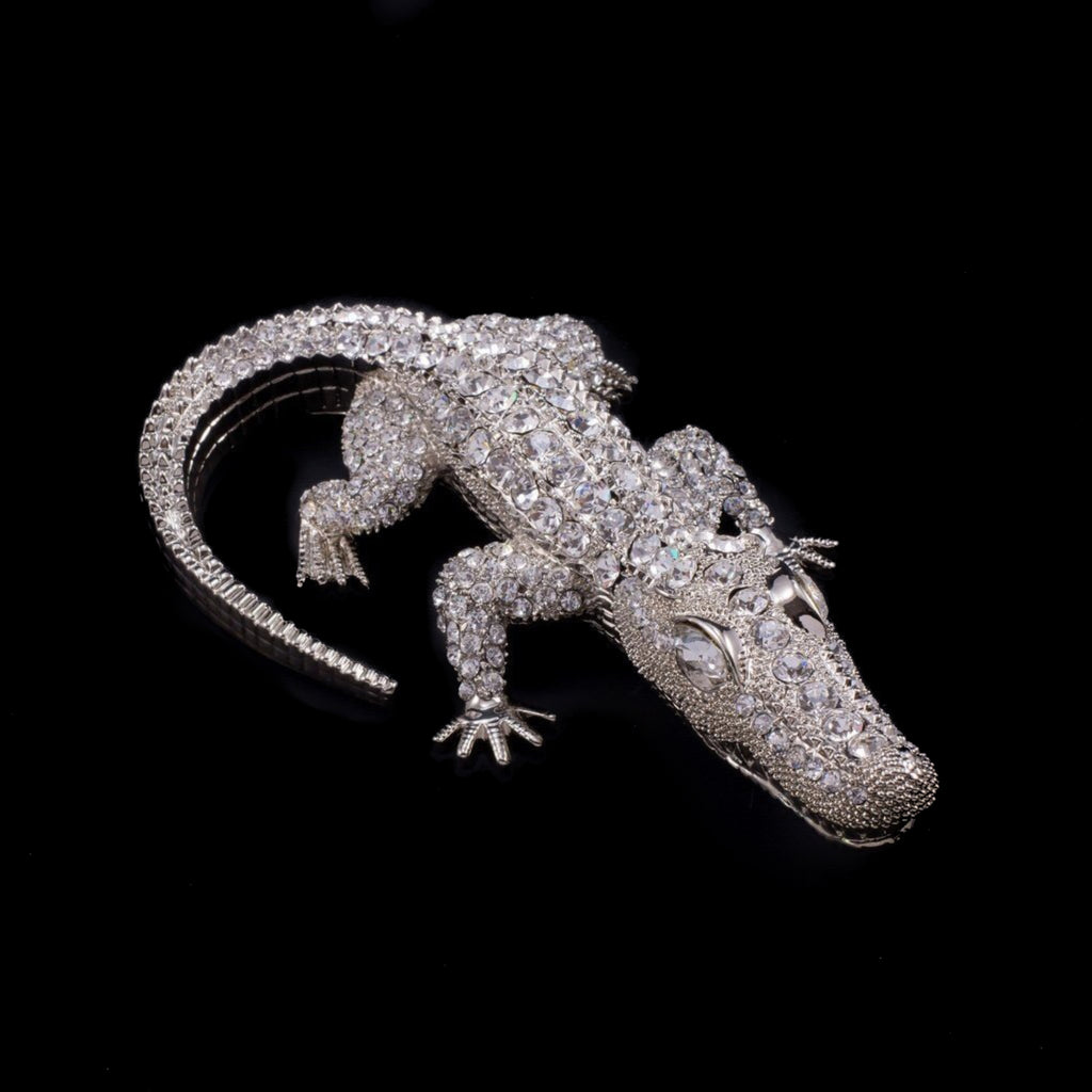 Bull Gator Paperweight Collectible Featuring Swarovski © Crystals | Clear Eyes