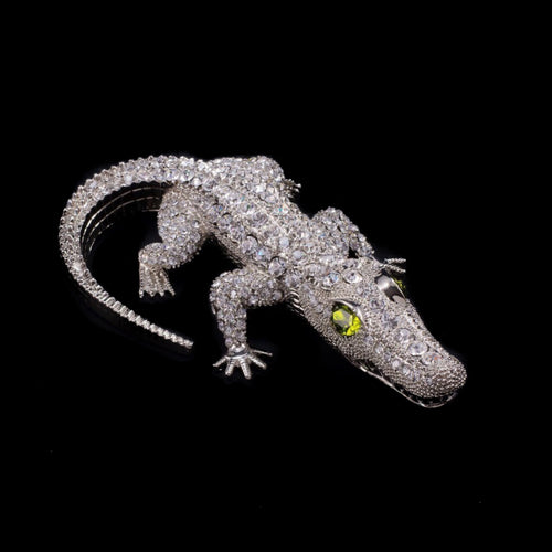 Bull  Gator Paperweight Collectible Featuring Swarovski © Crystals / Olivine Eyes