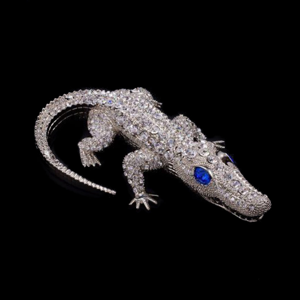 Bull Gator Paperweight Collectible Featuring Swarovski © Crystals / Sapphire Eyes