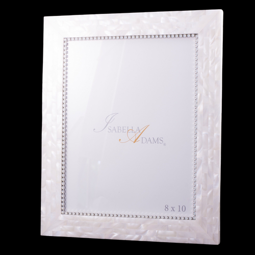 8 x 10 Mother of Pearl White Opal Picture Frame Featuring Swarovski ® Crystal