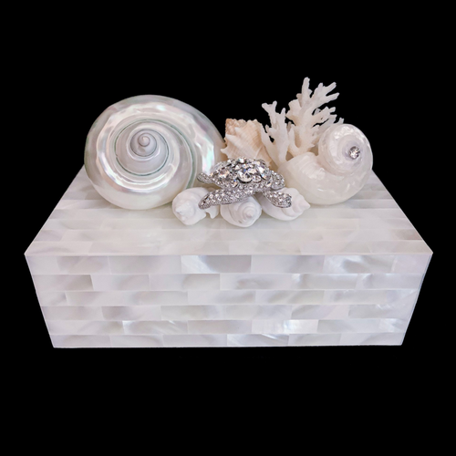Mother of Pearl Sea Turtle Shell & Coral Cluster Jewelry Box Featuring  Swarovski ® Crystal