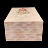 Rose Pink Mother of Pearl Jewelry Box Featuring Crystallized Turtle