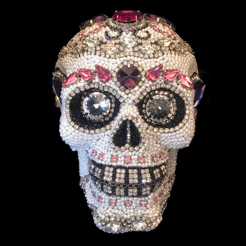 Medium Pink Crystallized Sugar Skull Statuette Featuring Swarovski © Crystals