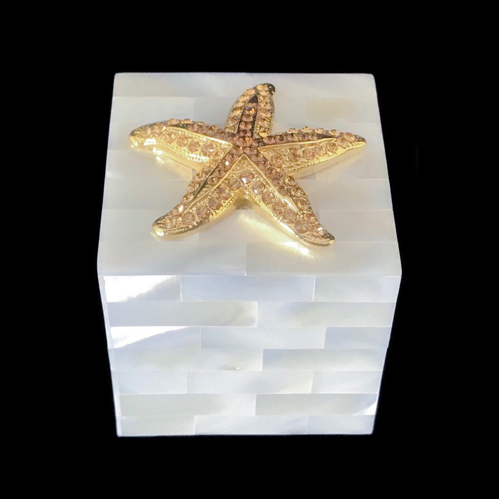 Mother of Pearl Gold Starfish Ring Box Featuring Swarovski © Crystals