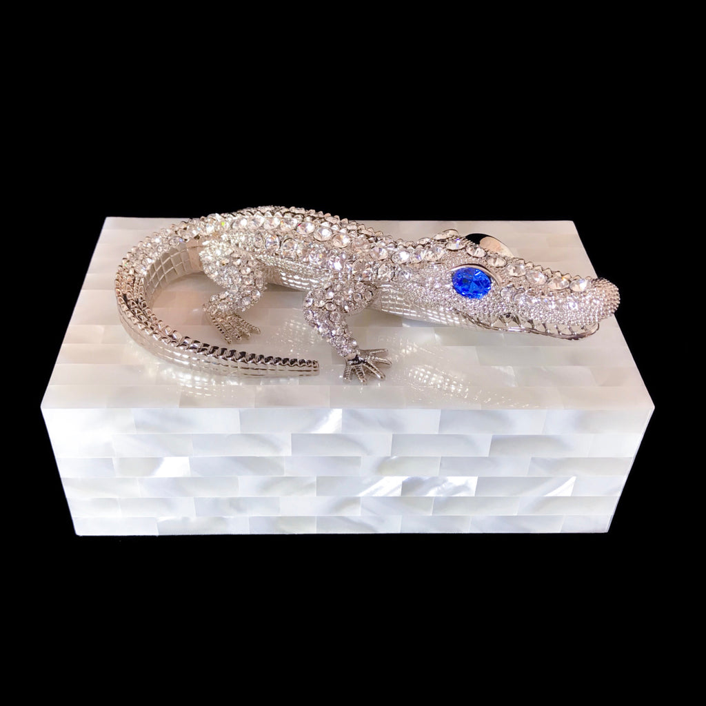 Mother of Pearl Jewelry Box Featuring Swarovski © Crystallized Crocodile with Sapphire Crystal Eyes