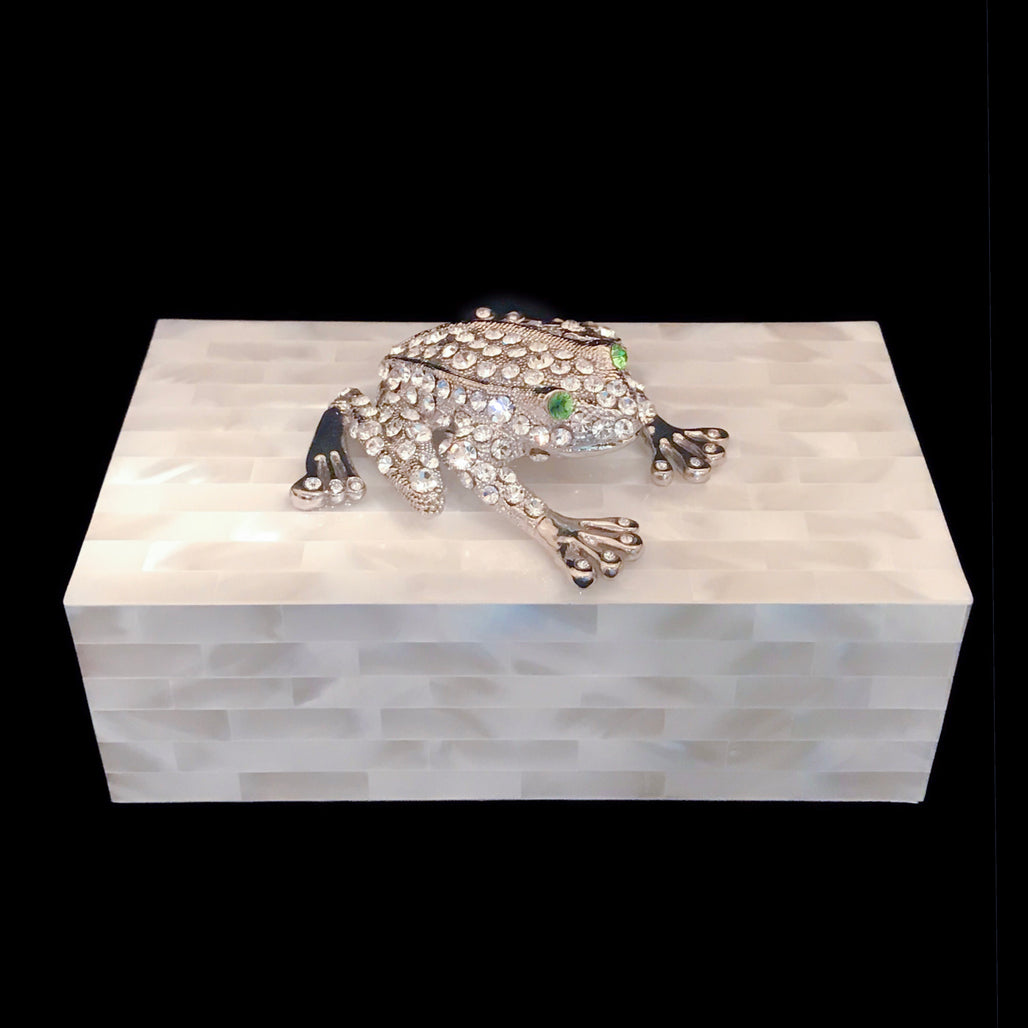 Mother of Pearl Jewelry Box Featuring Swarovski © Crystallized Rivet the Frog with Peridot Crystal Eyes