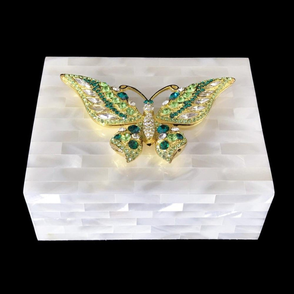 Mother of Pearl Keepsake Box Featuring Swarovski © Crystallized Butterfly