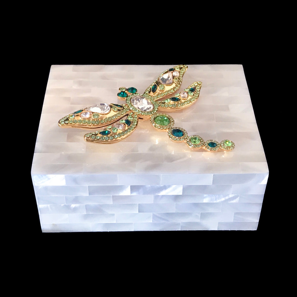 Mother of Pearl Keepsake Box Featuring Green Swarovski © Crystallized Dragonfly