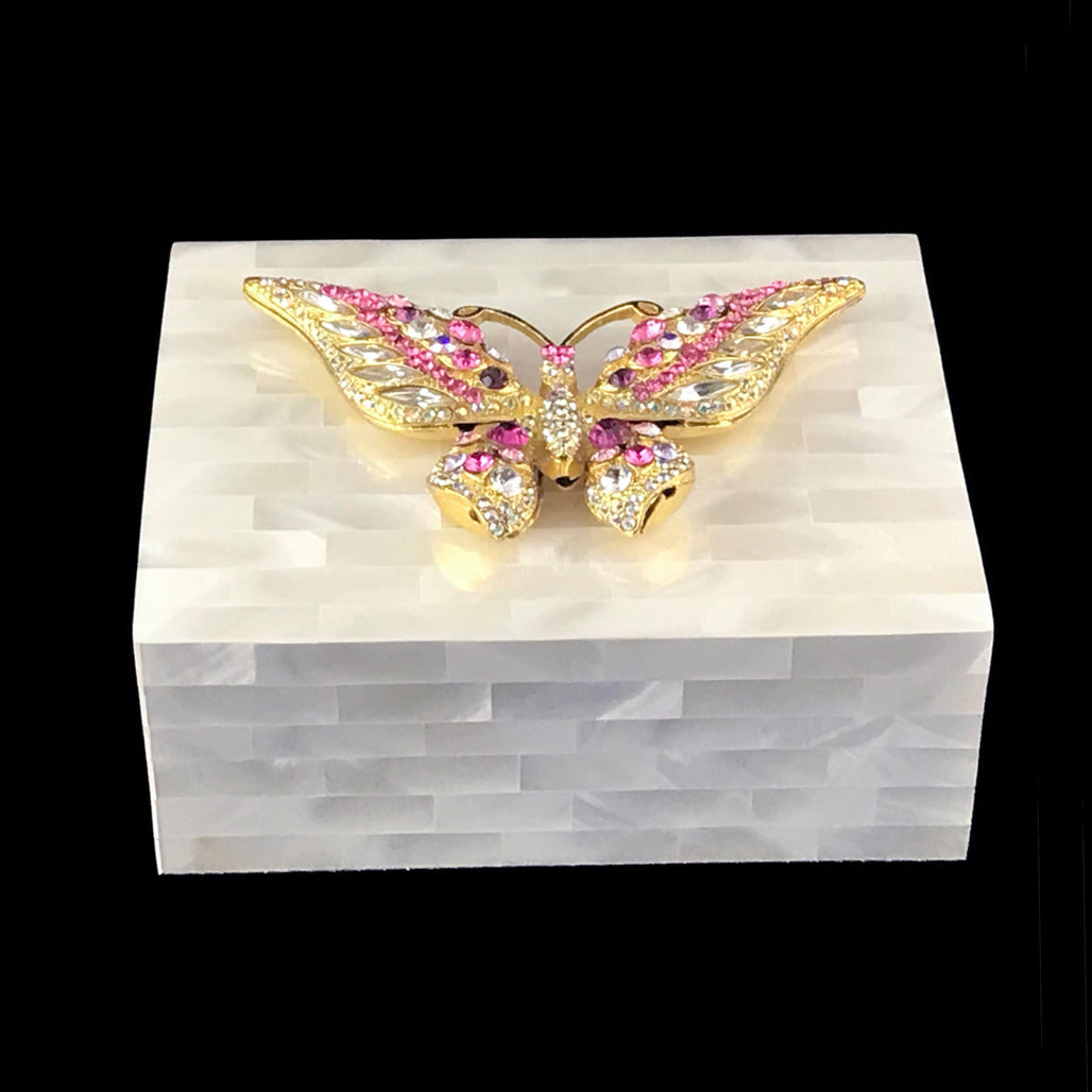 Mother of Pearl Butterfly Keepsake Box Featuring Swarovski ® Crystal