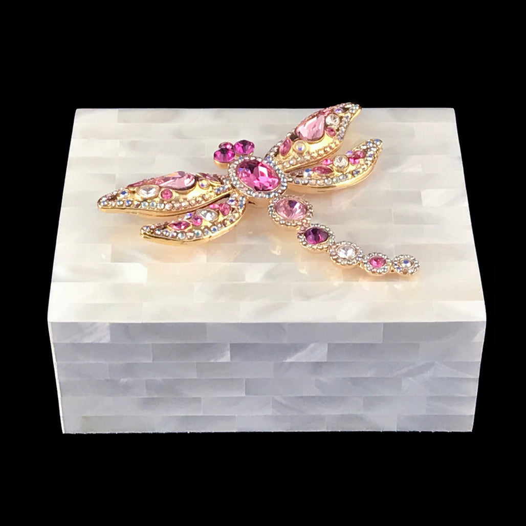 Mother of Pearl Keepsake Box Featuring Pink Swarovski © Crystallized Dragonfly