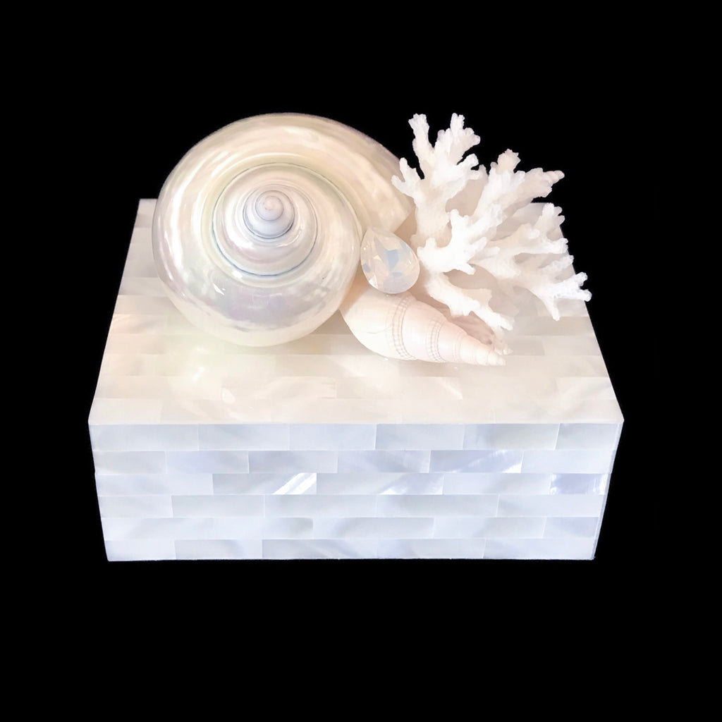 Mother of Pearl Keepsake Box Featuring White Seashells and White Opal Swarovski Crystal