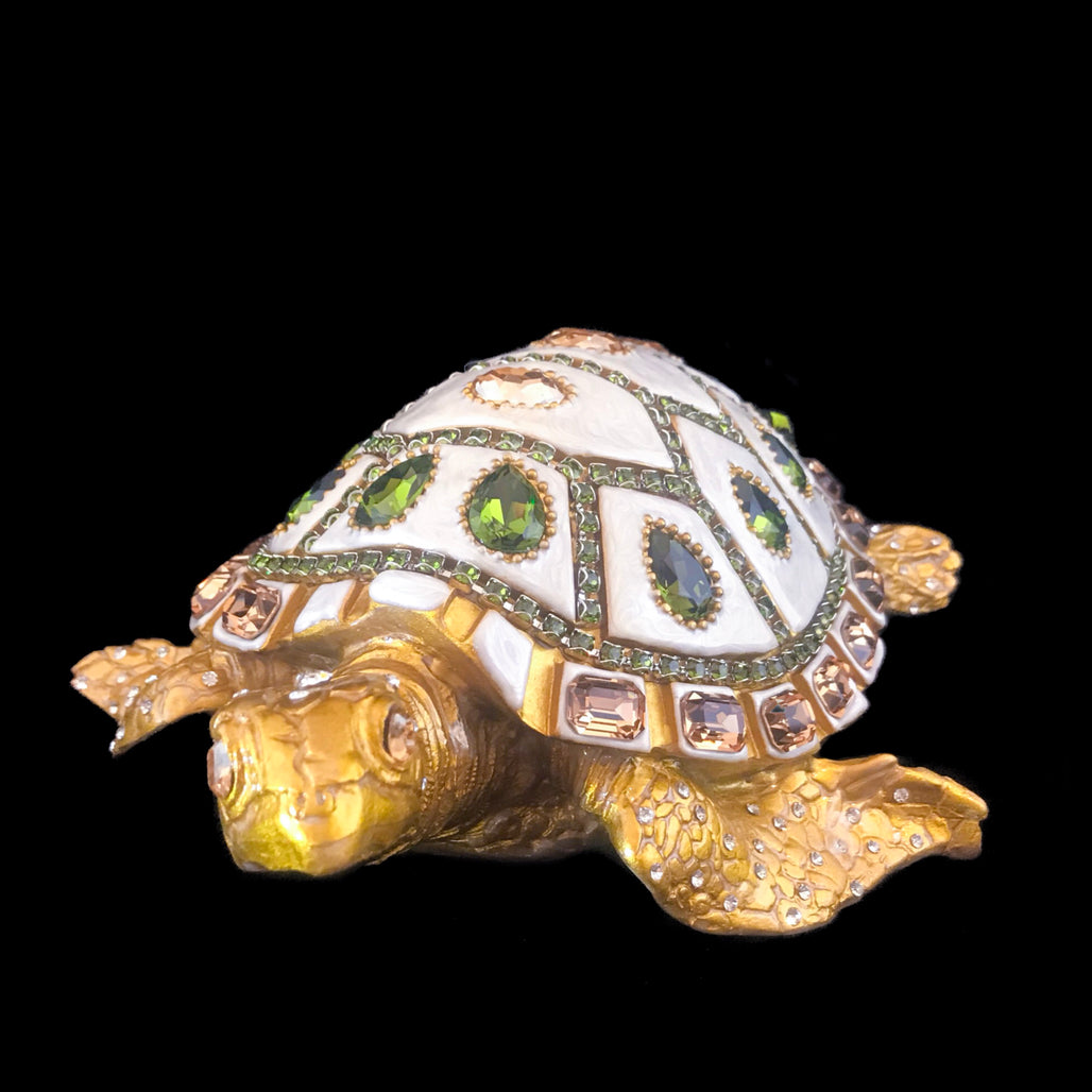 Mother of Pearl Sea Turtle Featuring Olivine & Golden Shadow Swarovski © Crystals