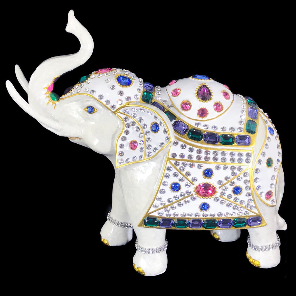 Parade Elephant Statuette Featuring Multi-Color Swarovski © Crystals & Gold Trim Lining