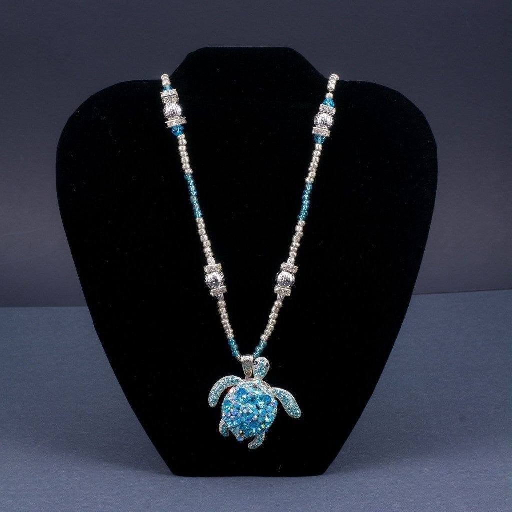 Ladies Sea Turtle Necklace Featuring Swarovski © Crystals | Aquamarine