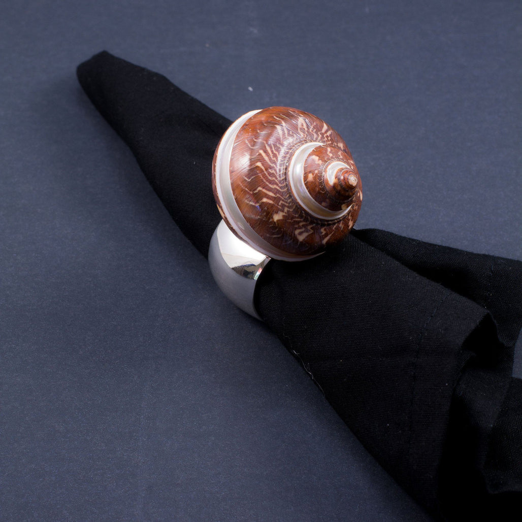 Napkin Rings Featuring Swarovski © Crystals and Banded Cinamon Turbo Seashell | Set of 4