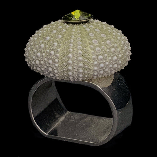 Olivine Sea Urchin Napkin Rings Featuring Swarovski © Crystals | Set of 4