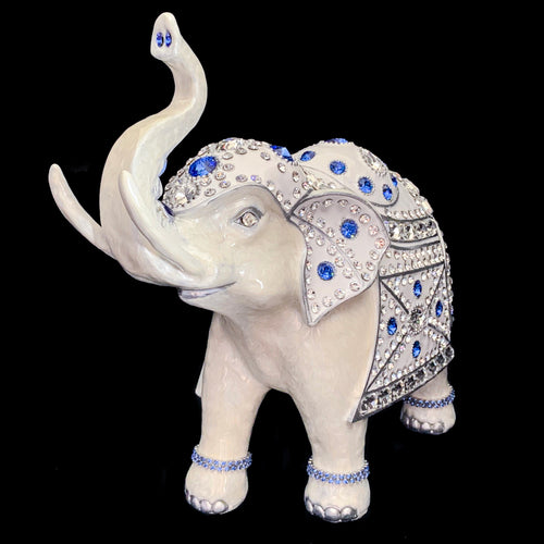 Parade Elephant Sculpture Featuring Sapphire & Clear Swarovski © Crystals with Silver Trim / Signed & Numbered