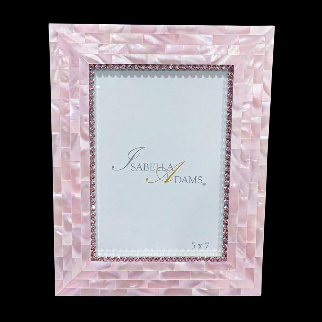 5 x 7 Rose Mother of Pearl Picture Frame Featuring Swarovski ® Crystals