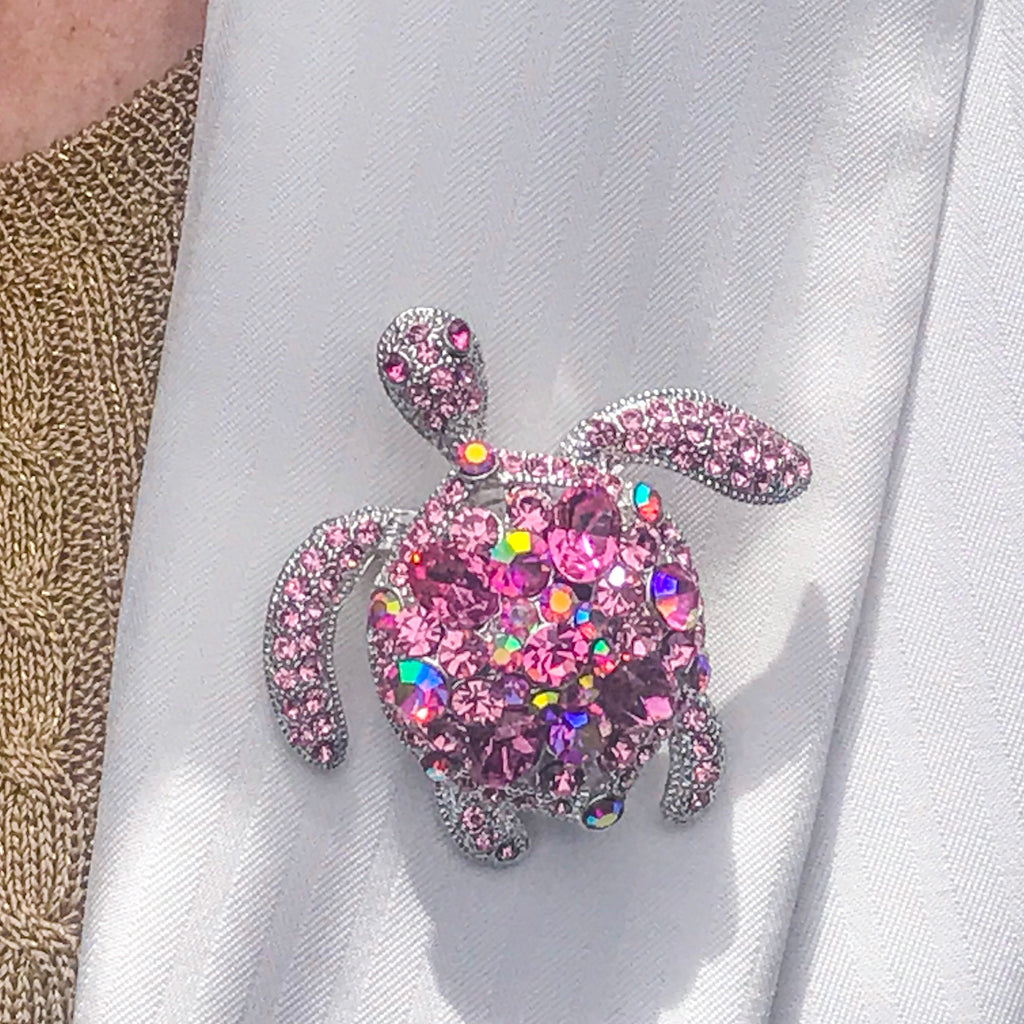 Pink Crystallized Turtle Brooch Pin