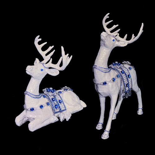 Mother of Pearl Sapphire Swarovski ® Crystallized Reindeer Set - Signed & Numbered (01/ 01 ) Only Sapphire set of 2020